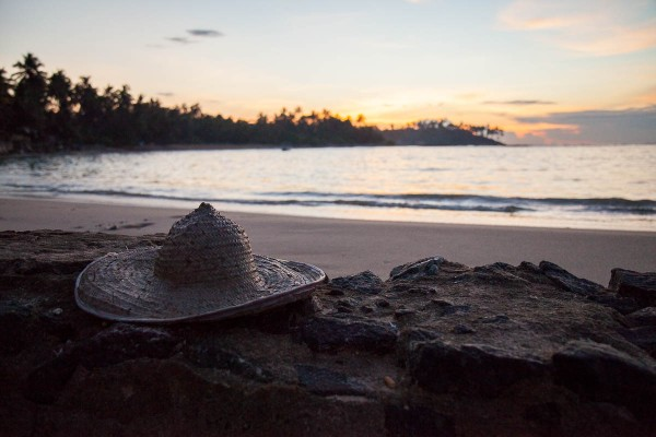A hat on a beach in Sri Lanka.