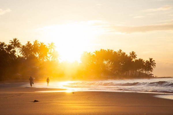 Sunset walk at Mirissa Beach in Sri Lanka.