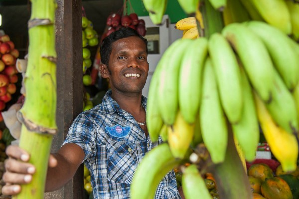 A portrait of a banana seller at Galle, Sri Lanka.