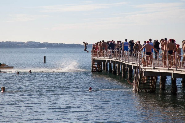 New Years jump into the Adriatic sea is a well attended event which takes place every year in Portorož, Slovenia