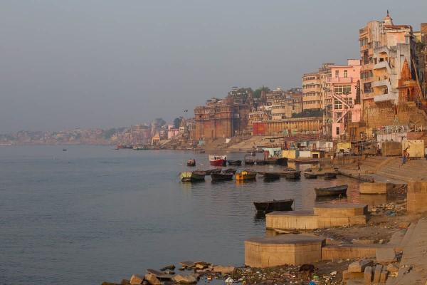 Banks of Ganges River in Varanasi, India.