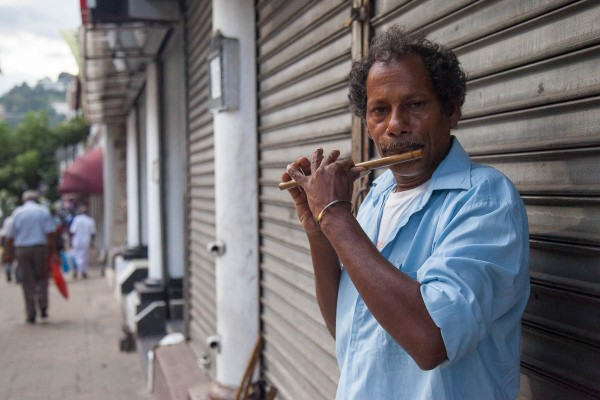 A man playing an instrument at the street in Colombo, Sri Lanka.