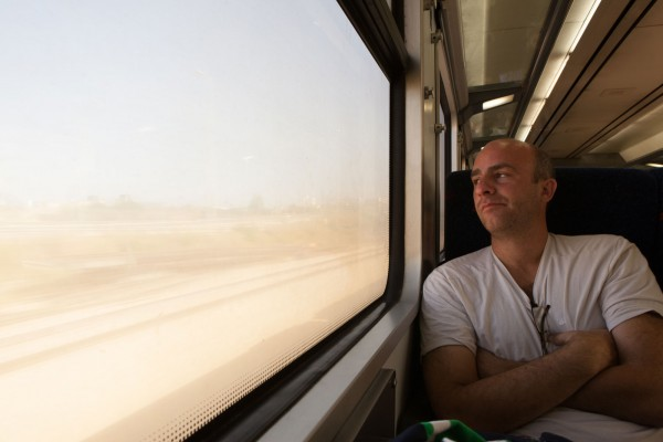 A friend on a train to Haifa, Israel