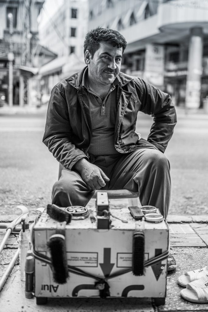 A shoe cleaner at the street in Dohuk / Duhuk, Iraqi Kurdistan