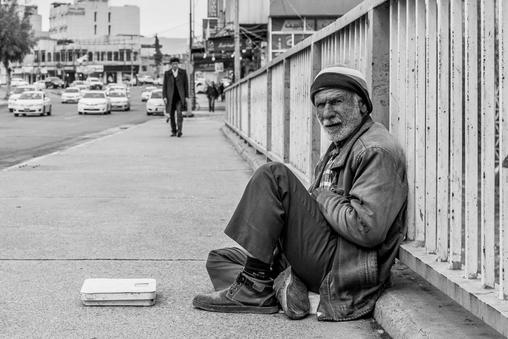 Homeless man on the street in Dohuk, Iraqi Kurdistan.