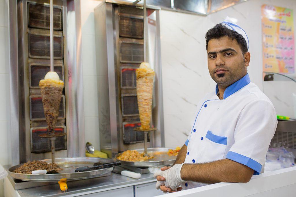 A kebab chef in Duhuk / Dohuk, Iraqi Kurdistan