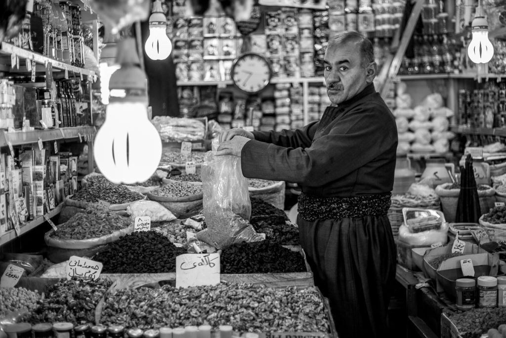 A seller at the Bazaar in Sulaymaniyah, Iraqi Kurdistan