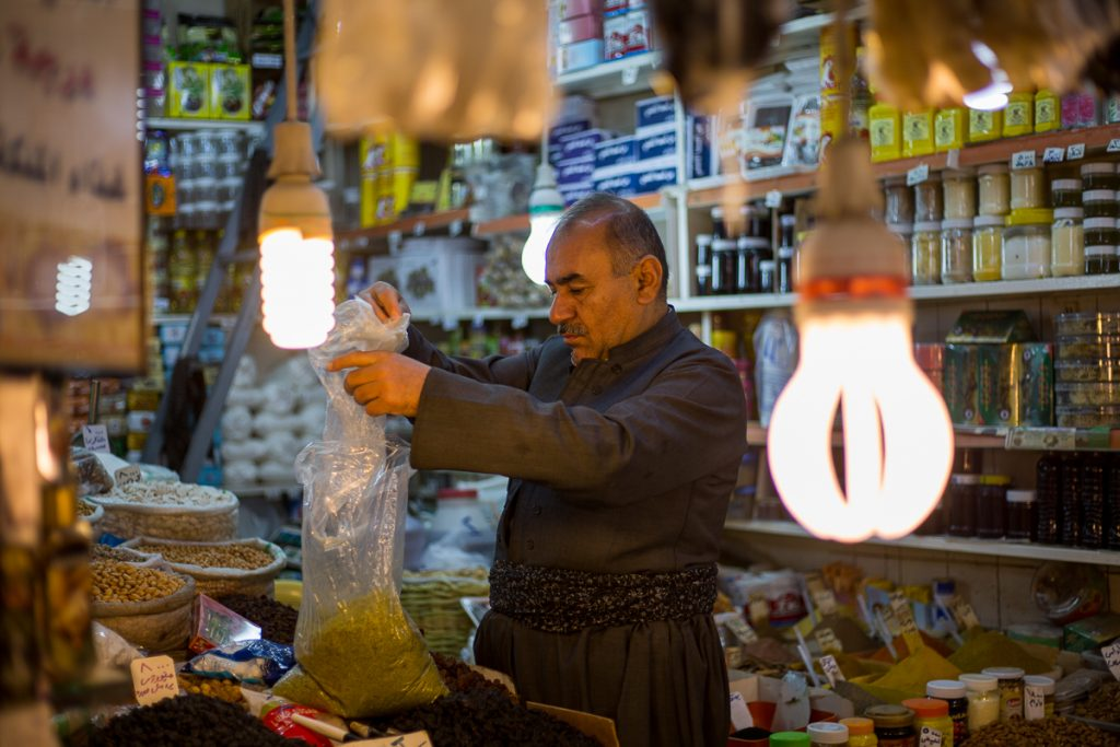 A seller at the Bazaar in Sulaymaniyah, Iraq