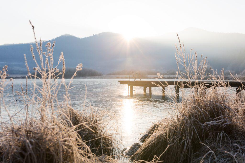Lake Podpeč at sunrise on 30th of December 2016.