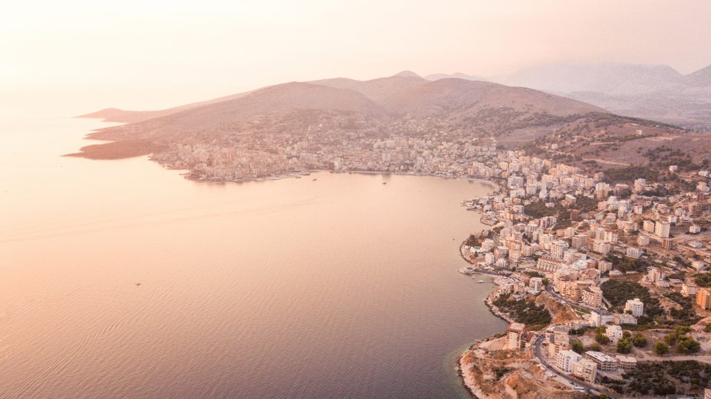 An aerial shot of Sarandë, Albania