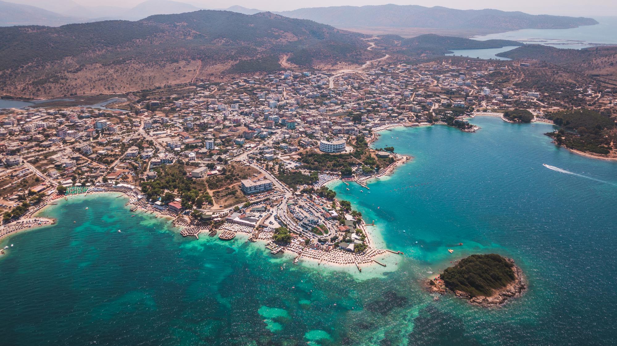 An aerial shot of Ksamil, Albania