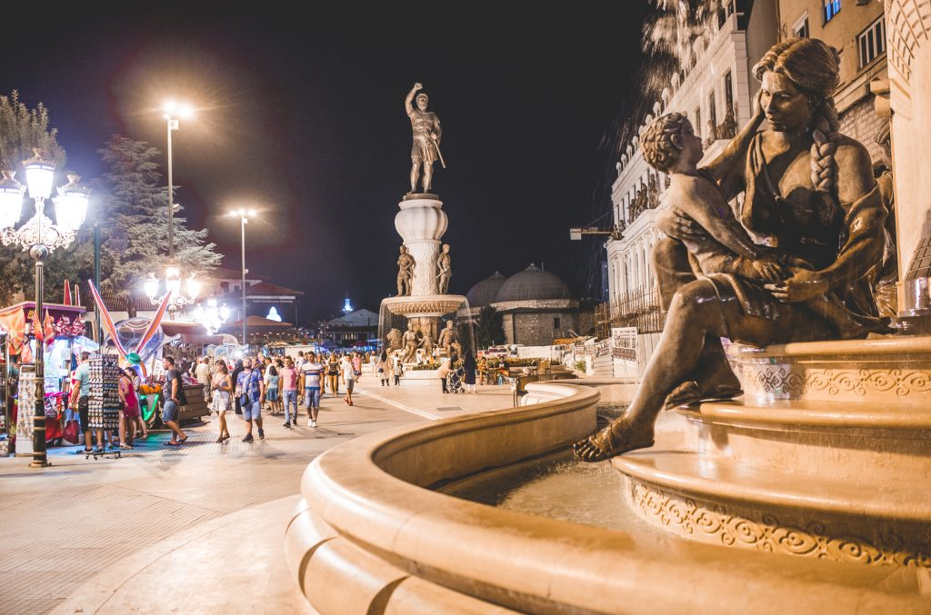 Night photo of a square in Skopje, Macedonia