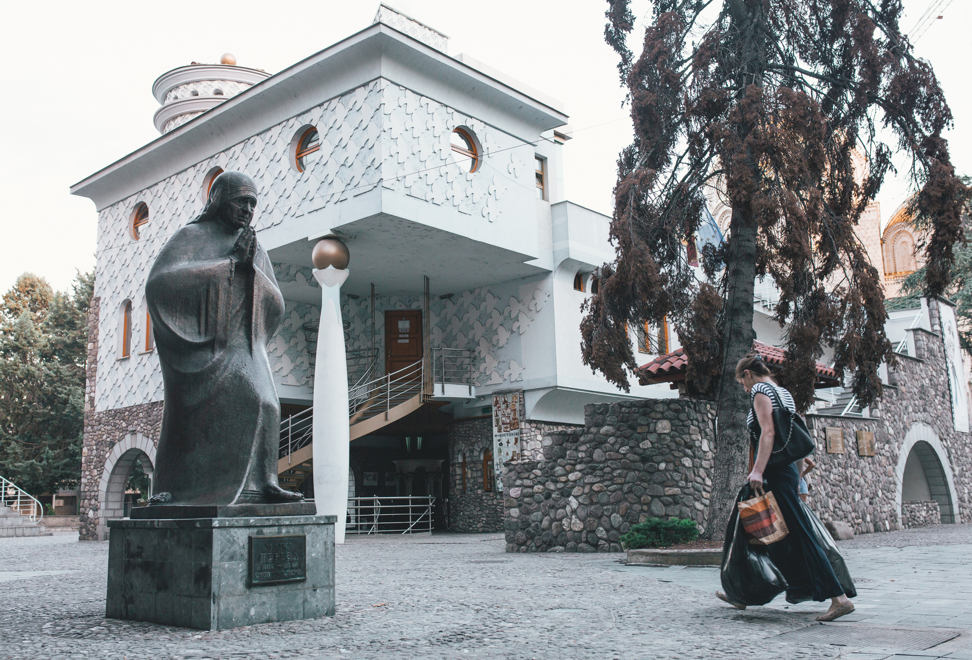 A statue of Mother Teresa in front of Memorial House of Mother Teresa in Skopje, Macedonia.