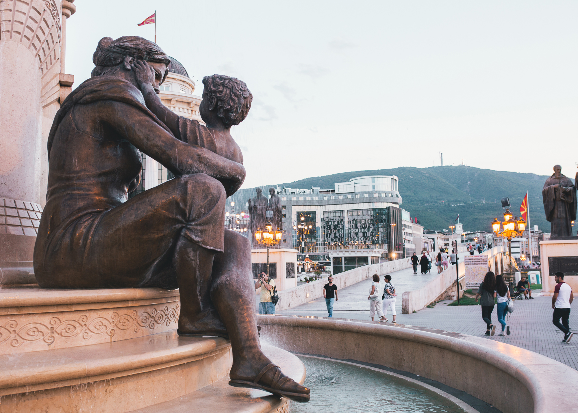 A statue of a mother and a child in Skopje, Macedonia.