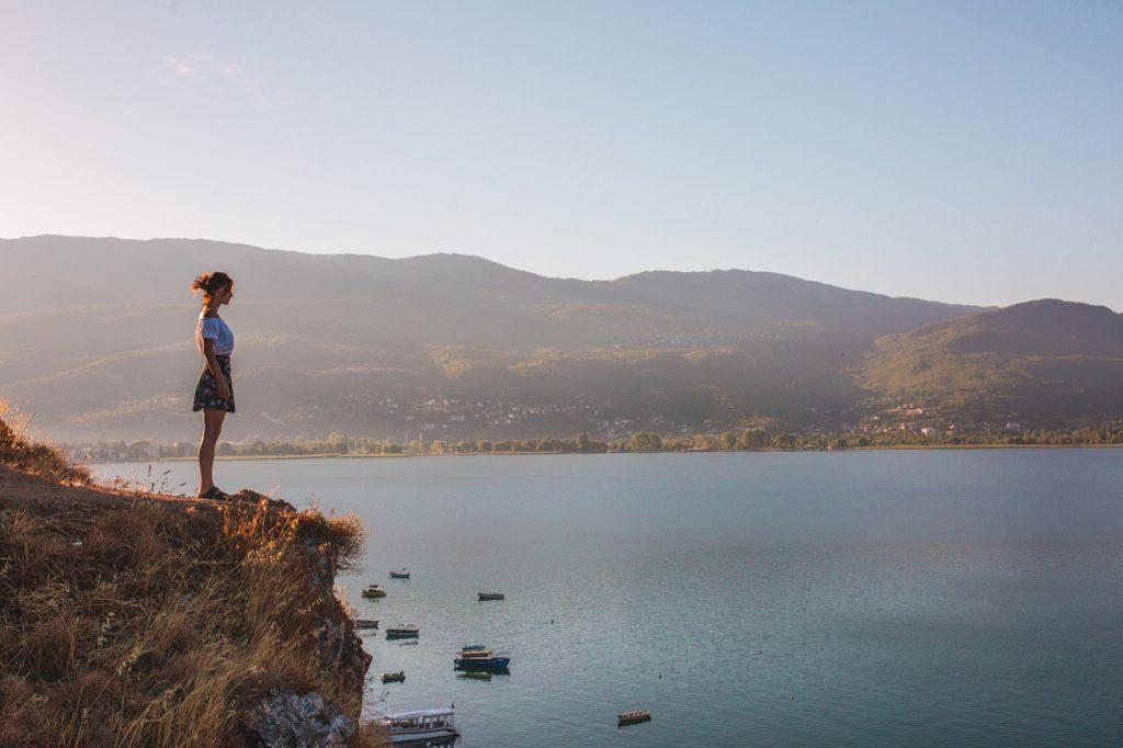 A girl looking at the sea at Ohrid, Macedonia