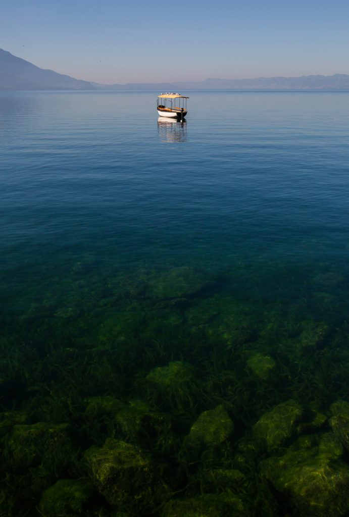 A lonely boat at Lake Ohrid in Macedonia
