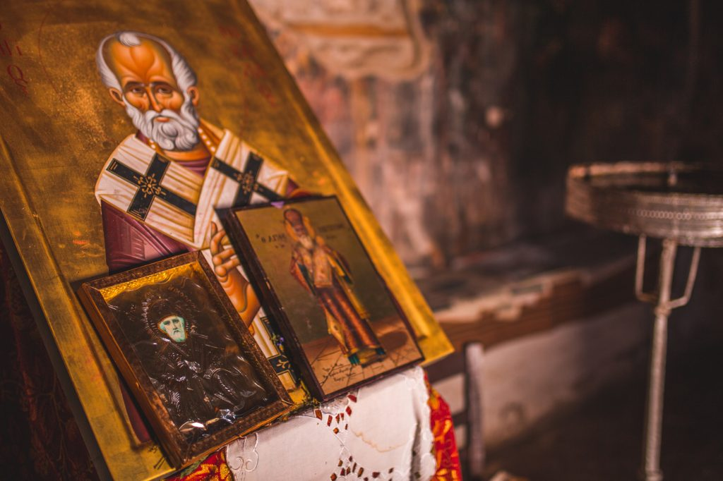A photo of pictures in a monastery in Macedonia.