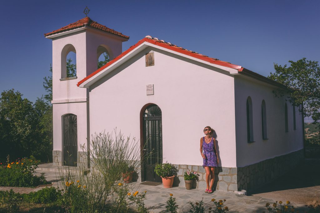 A girl by the church in Ohrid, Macedonia