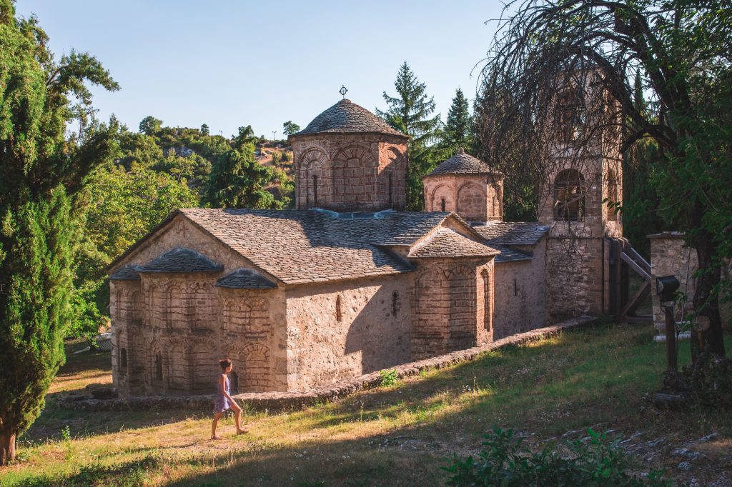 A girl walking around the monastery in Macedonia.