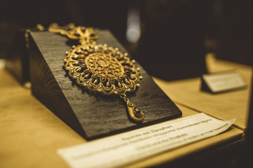 A gold necklace at the Great Meteoron Monastery in Meteora, Greece