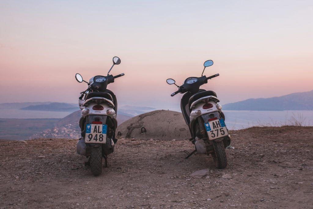 Two mopeds above Sarandë, Albania