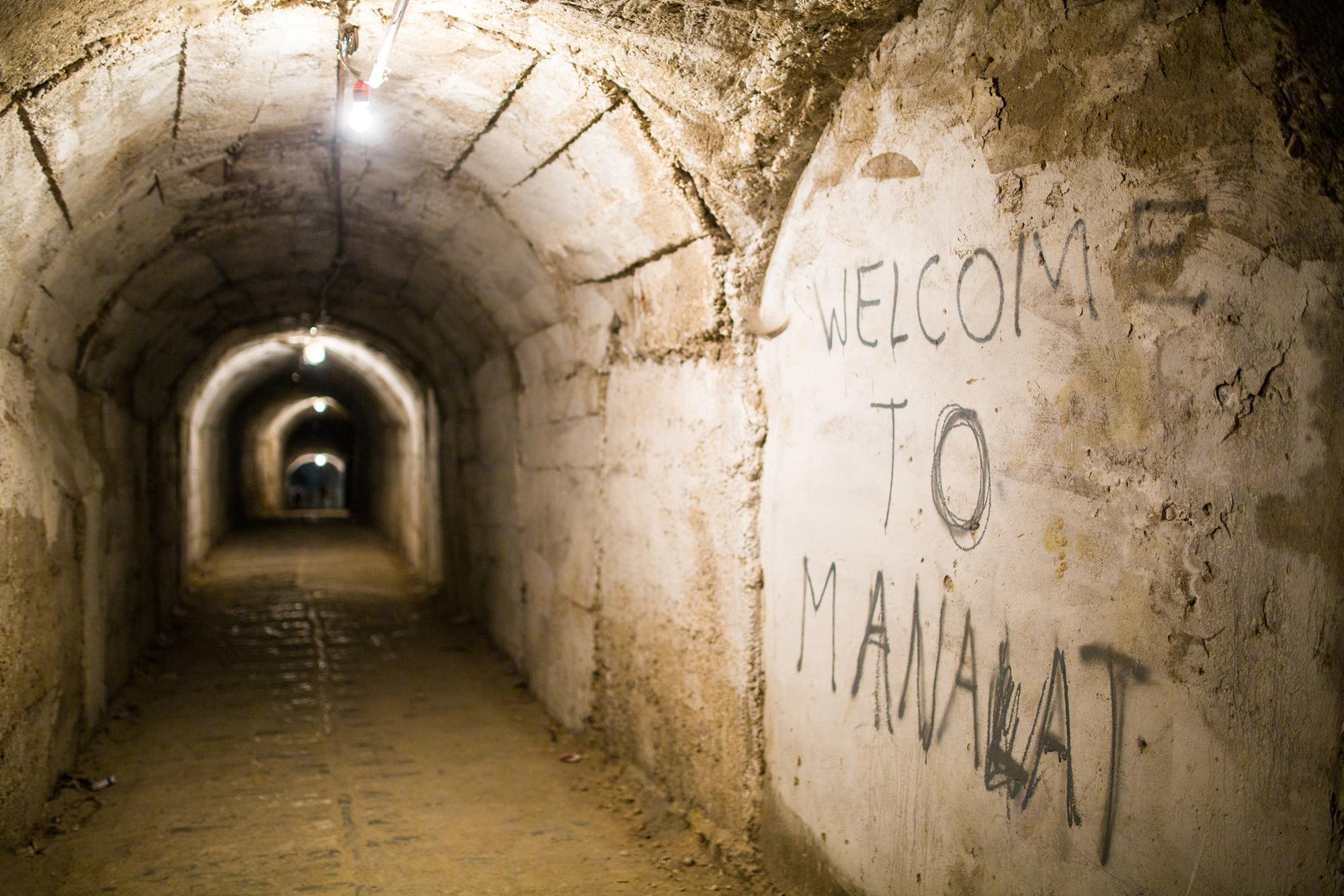 A photo of a graffiti in a cave