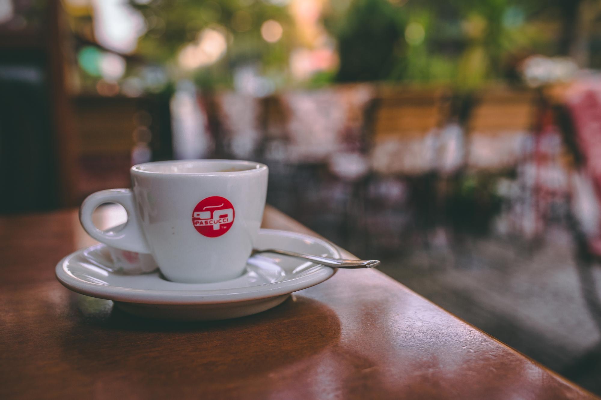 An espresso in Tirana, Albania.