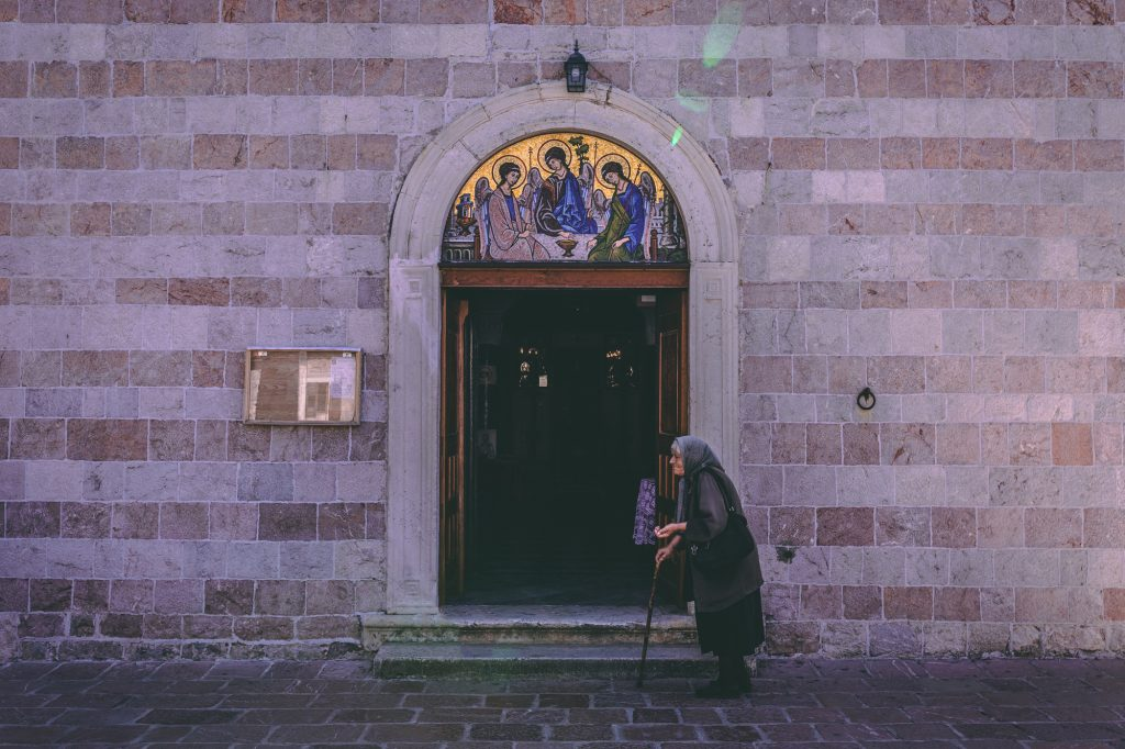 Entrance into a church in Budva, Montenegro