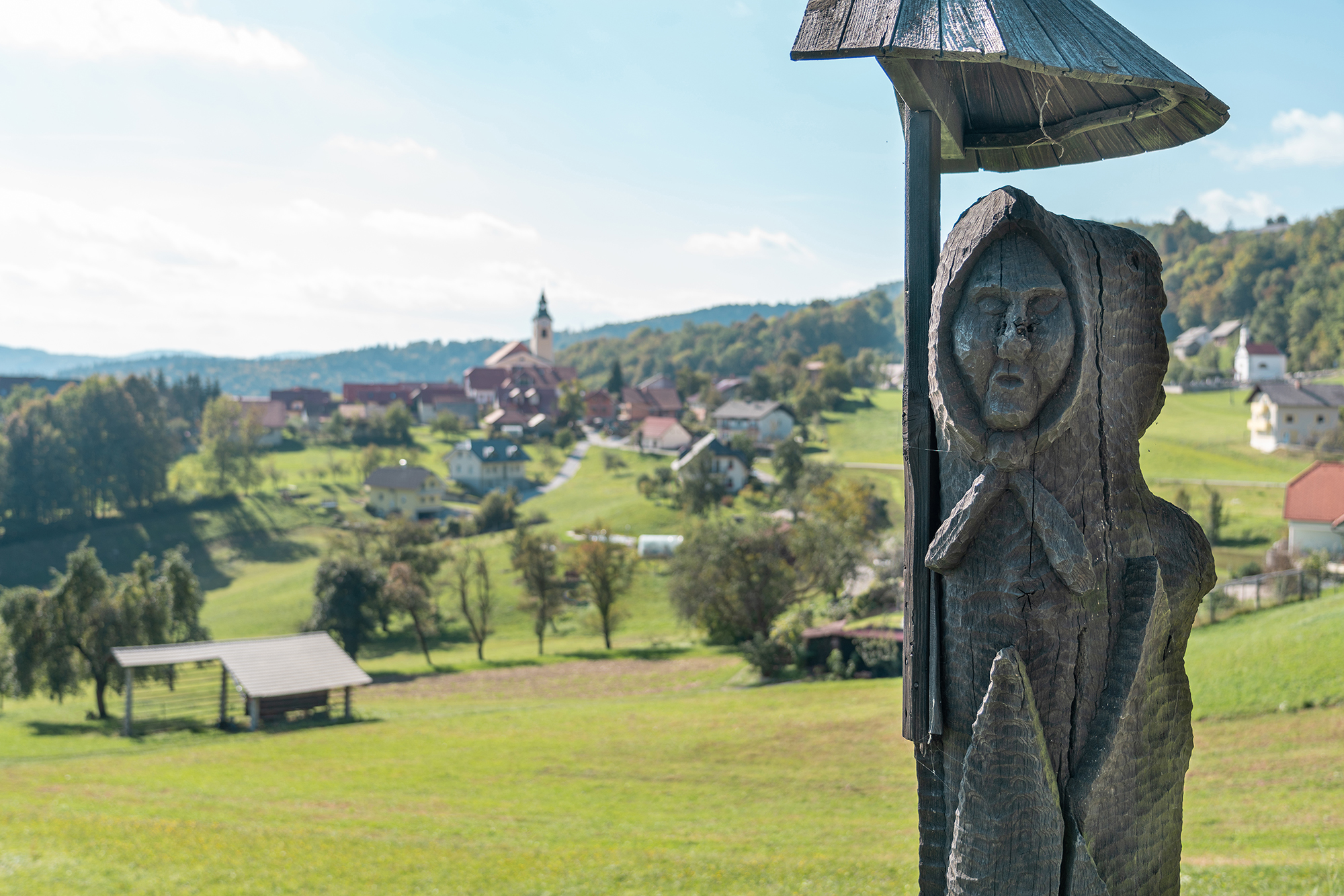 September 29, 2018 - Zasavska Sveta gora: Photo from a hike from Vace to Zasavska Sveta gora in Slovenia - a wooden statue near village Vace, Litija.