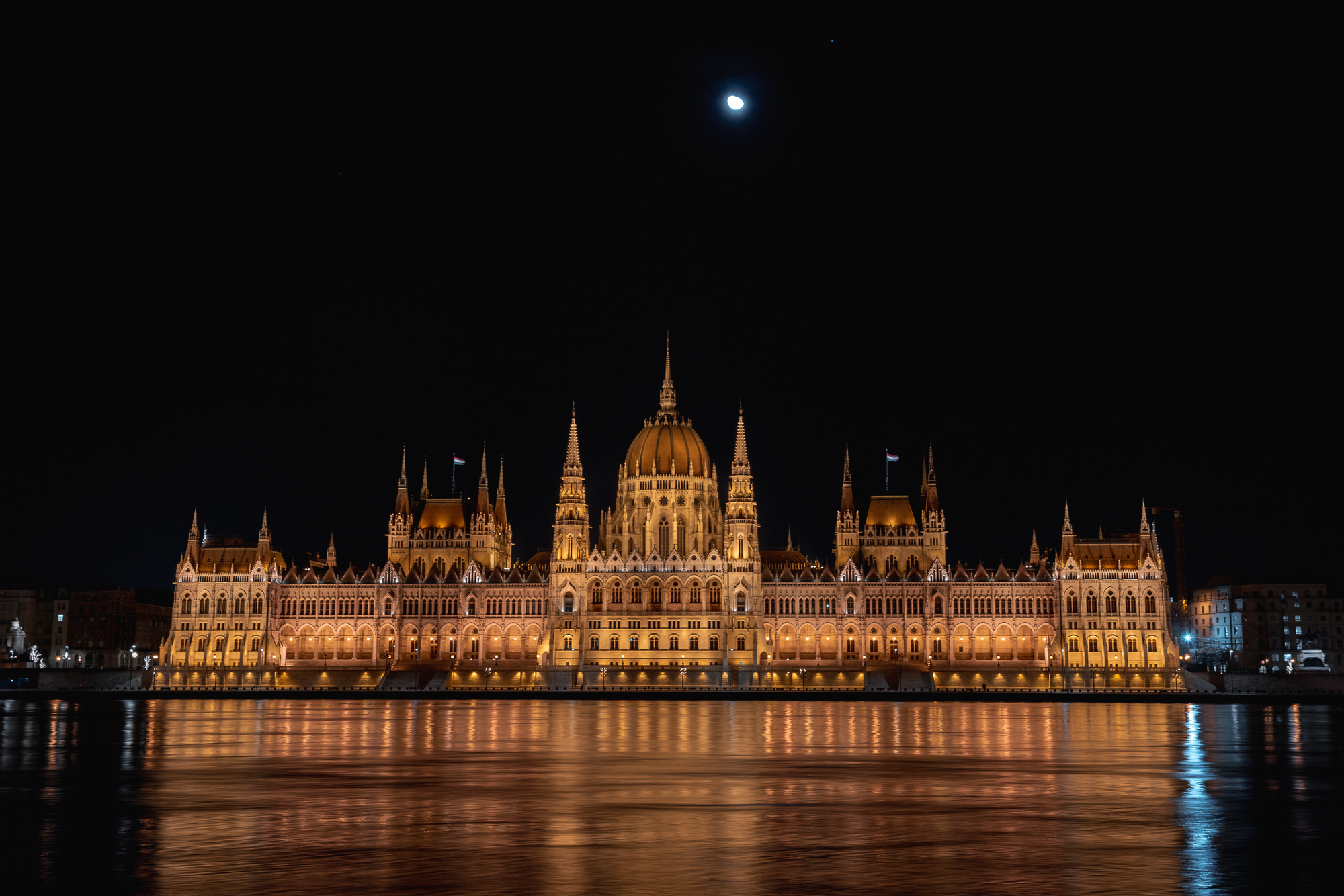 Hungarian Parliament Building in Budapest at night