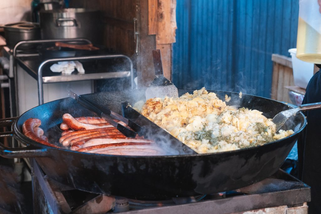 Food (mash patato and sausages) at a vendor on Christmas Market