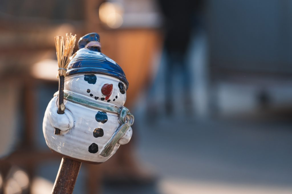 A snowman shaped souvenir at a Christmas market in Klagenfurt, A