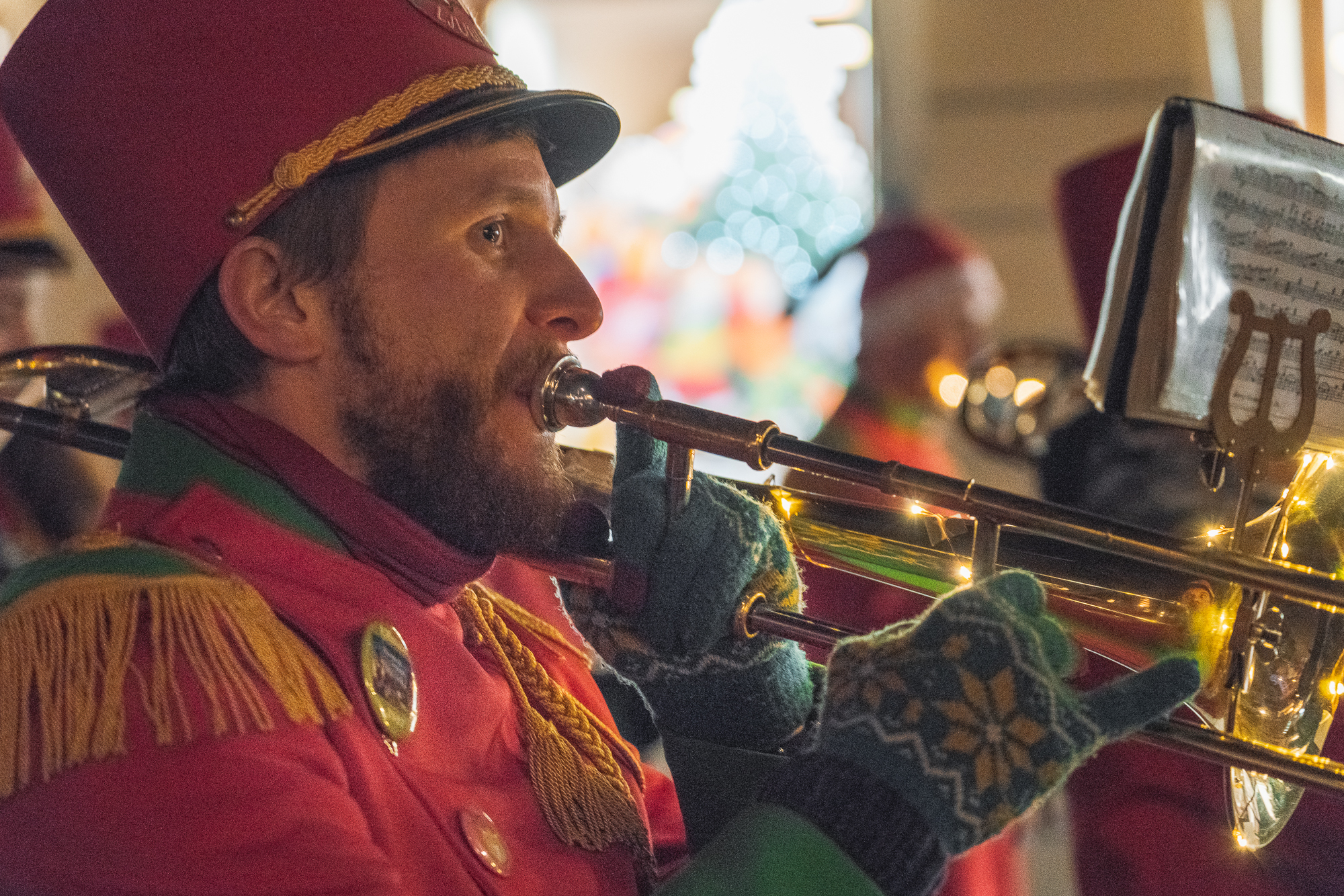 A trumpet player at the Santa Claus event in Congress Square in Ljubljana, Slovenia