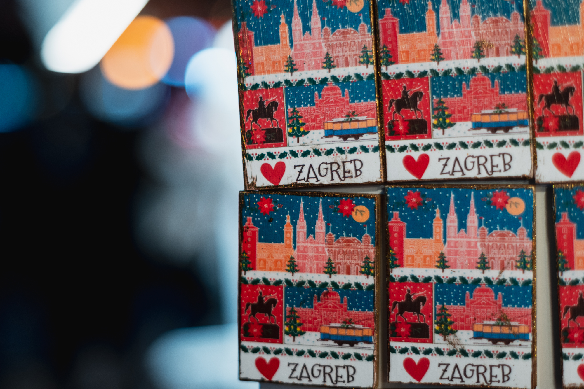 Souvenirs at the Zagreb Christmas market, Croatia