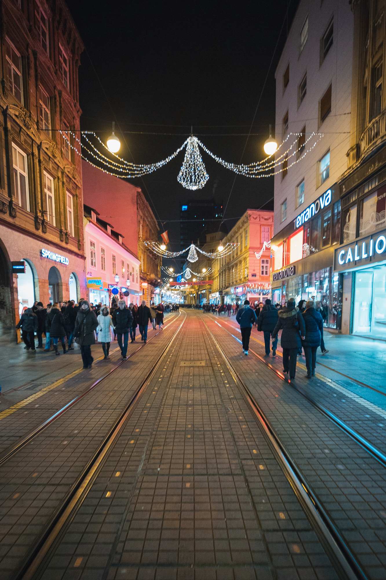 Street decorated with Christmas lights in Zagreb, Croatia