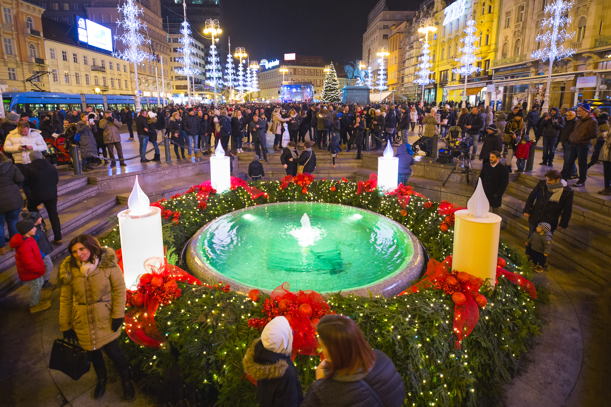 Advent wreath at Ban Jelačić Square in Zagreb, Croatia