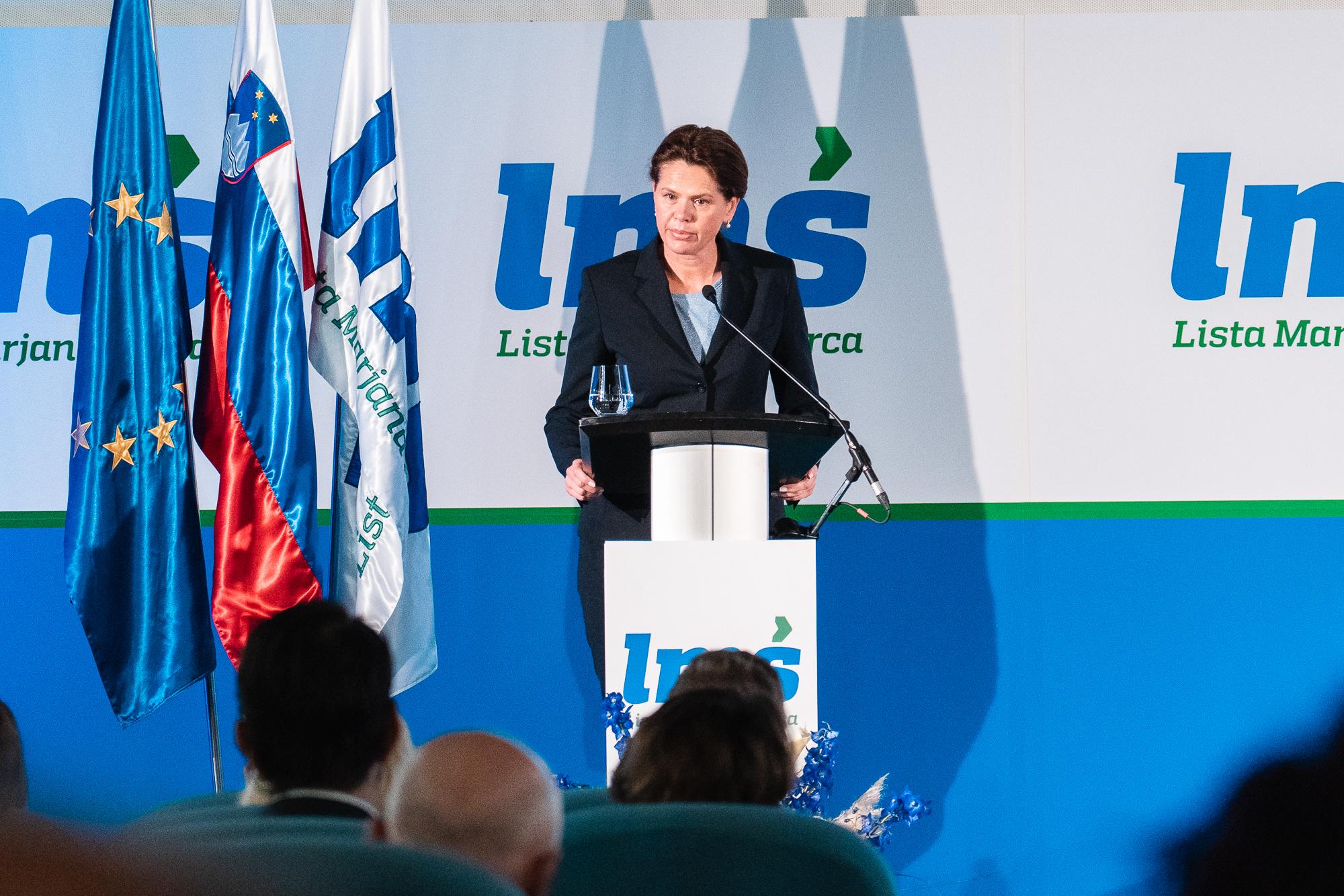 Alenka Bratušek, president of Alenka Bratušek Party, on the stage at the Fifth Congress of Lista Marjana Šarca