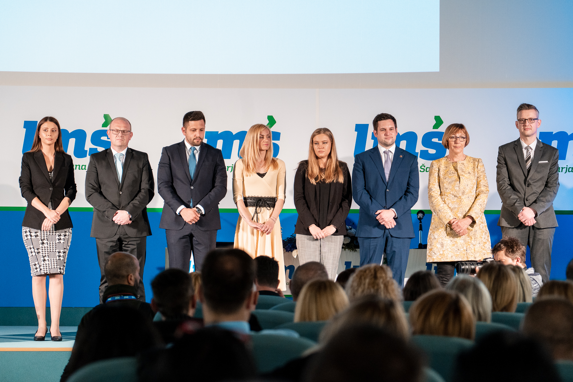 Candidates for the EU elections - Irena Joveva, dr. Klemen Grošelj, Edis Rujović, Tina Heferle, Jasna Ružicki, Luka Kočevar, dr. Justina Erčulj and Rudi Spruk - on the stage of the Fifth Congress of Lista Marjana Šarca in Trbovlje the stage of the Fifth Congress of Lista Marjana Šarca in Trbovlje