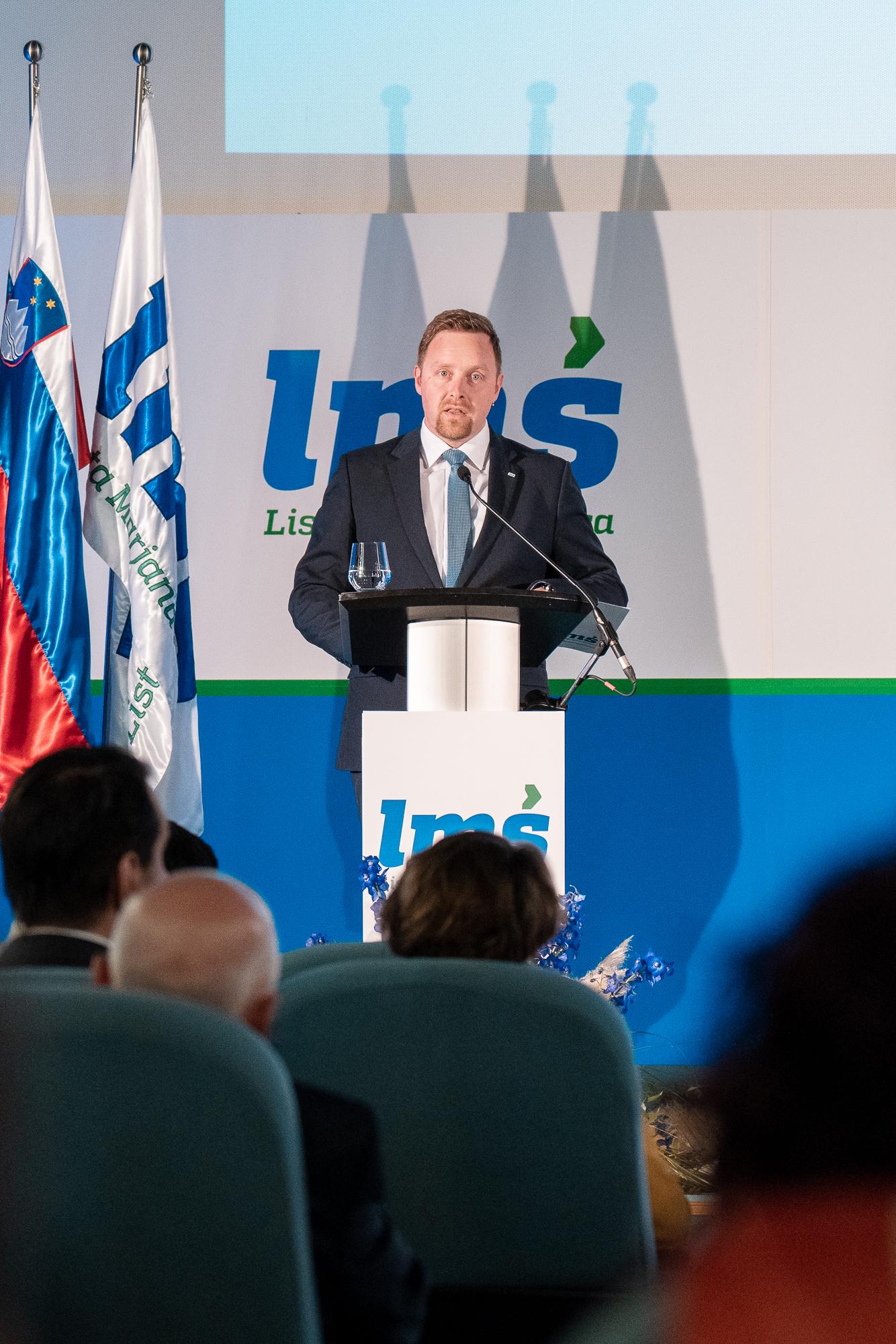 Igor Žavbi, vice president of Lista Marjana Šarca, on the stage at the Fifth Congress of Lista Marjana Šarca in Trbovlje