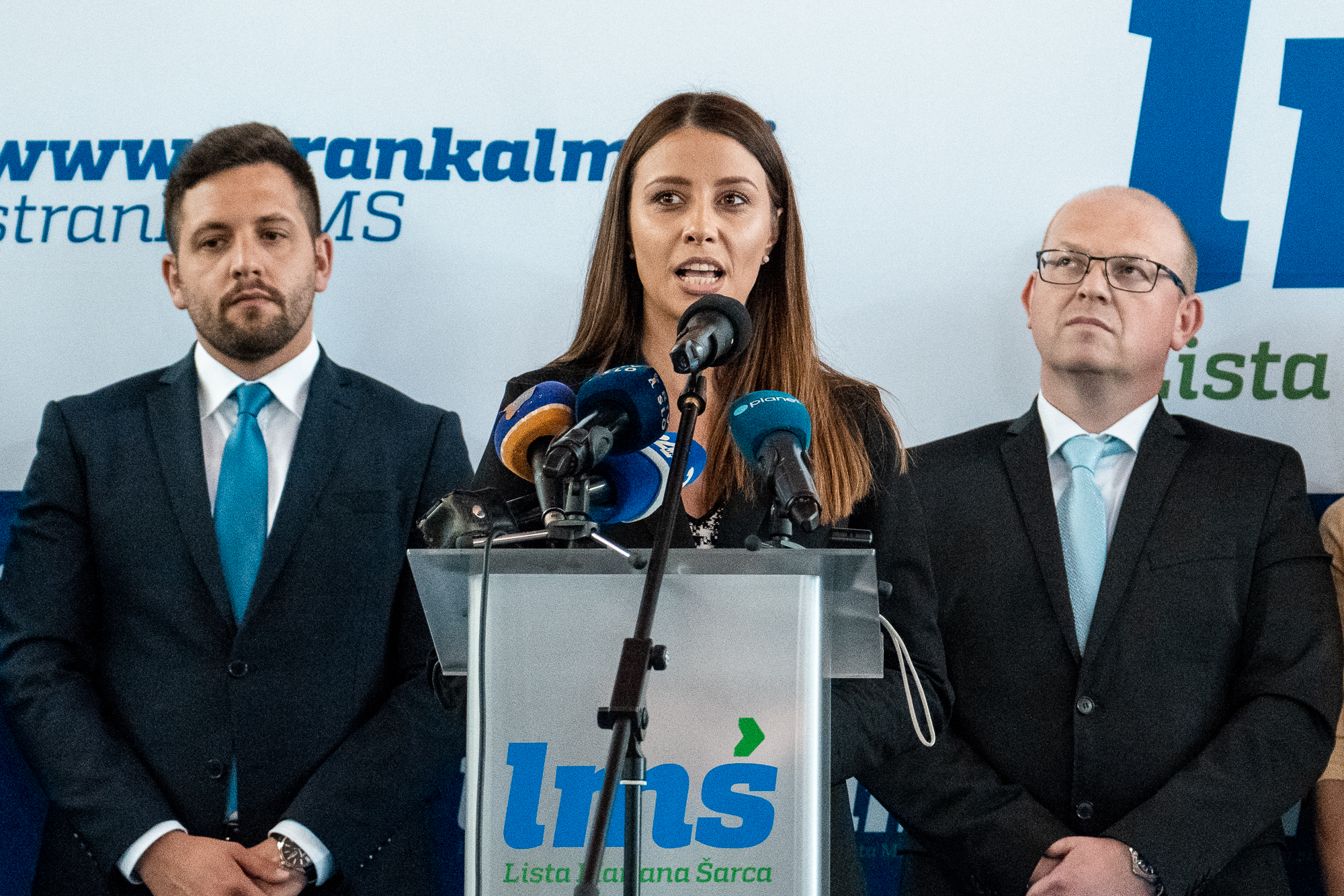 Irena Joveva, candidate of the Marjan Šarec List (LMŠ) in the EU election, on the stage on the Fifth Congress of Lista Marjana Šarca in Trbovlje