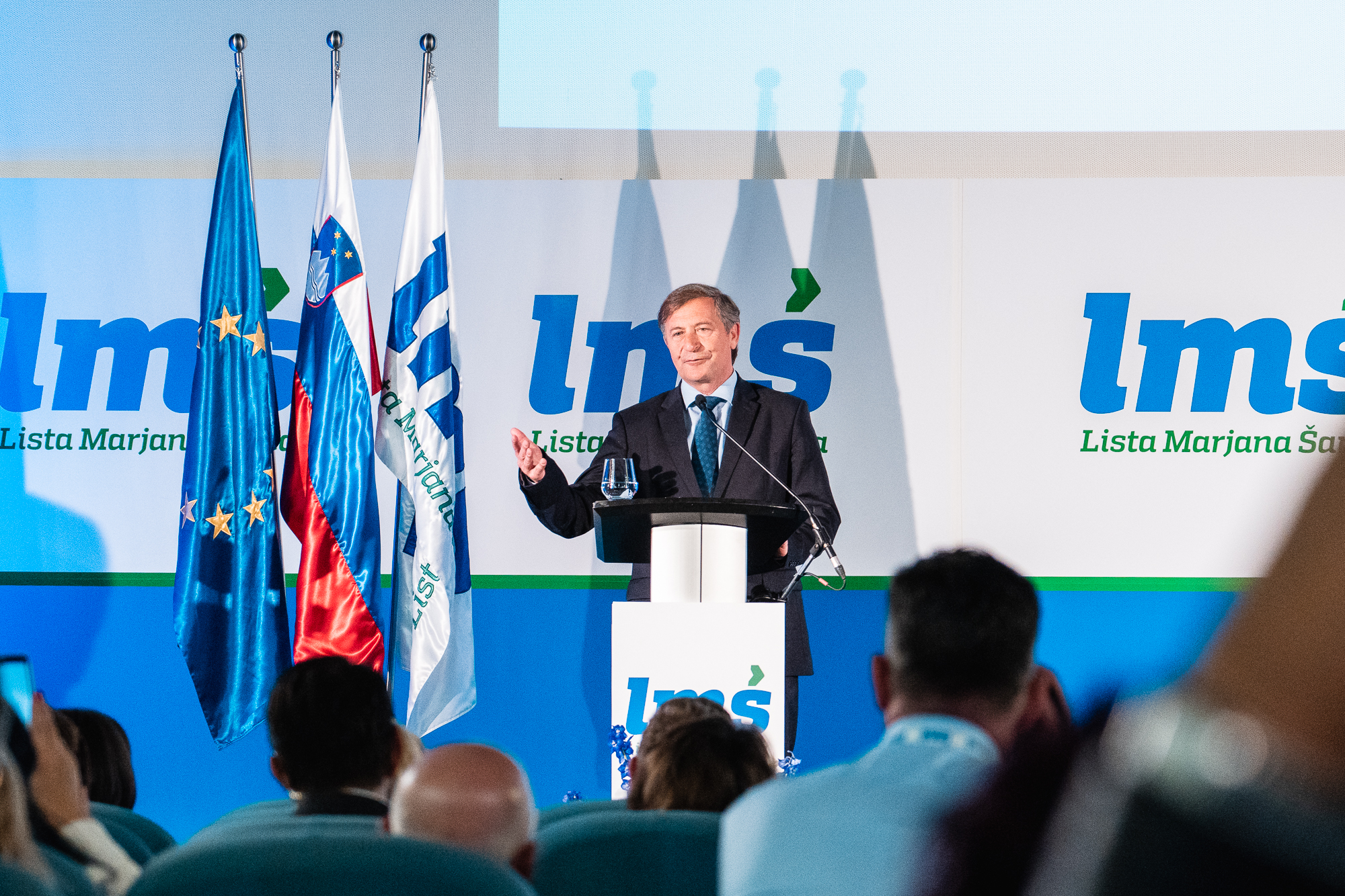 Karl Erjavec, leader of Democratic Party of Pensioners of Slovenia, on the stage at the Fifth Congress of Lista Marjana Šarca