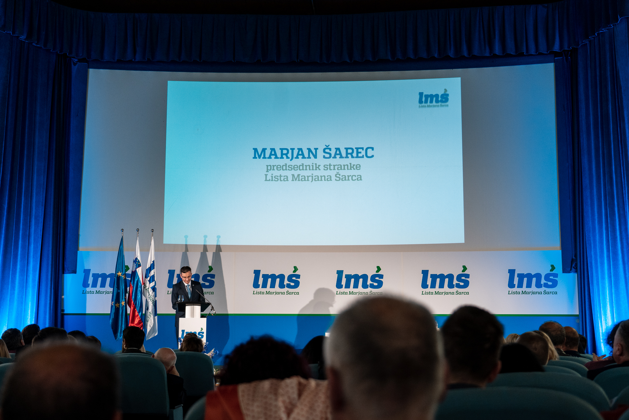 Marjan Šarec, Prime Minister of Slovenia and president of Lista Marjana Šarca, on the stage at the Fifth Congres of Lista Marjana Šarca in Trbovlje, Slovenia
