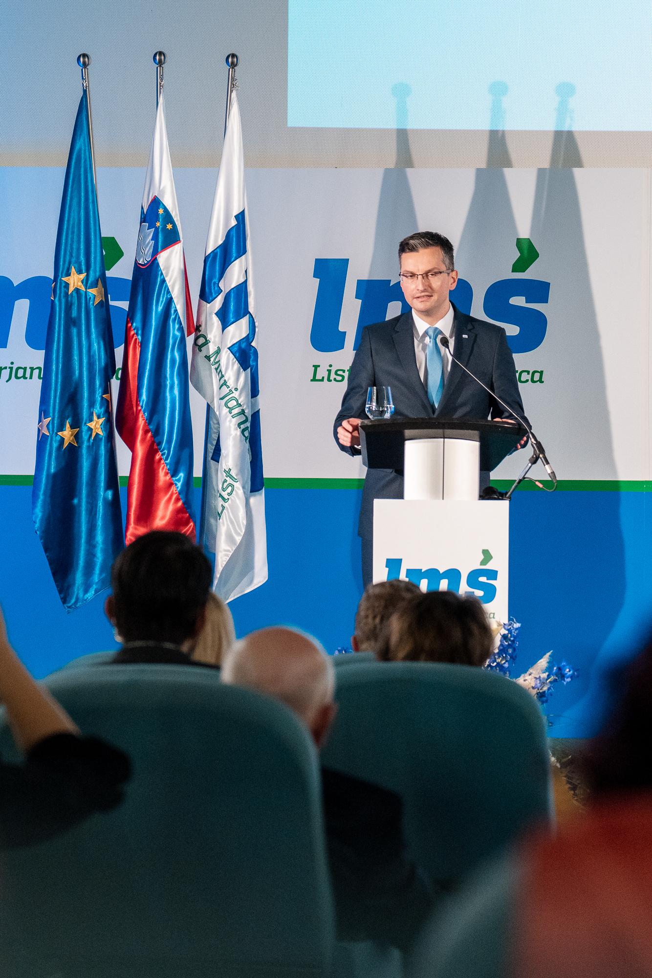 Marjan Šarec, Prime Minister of Slovenia and president of Lista Marjana Šarca, on the stage at the Fifth Congres of Lista Marjana Šarca in Trbovlje, Slovenia